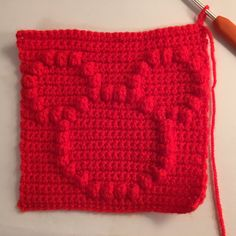 How to crochet a square with bobble stitch chart - Mickey Mouse