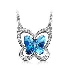 "?Specifications: Pendant Height: 6/10"", Pendant Width: 6/10"". Chain Length: 16"" plus 2"". This white gold plated lovely #butterfly necklace made with crystals fro..."