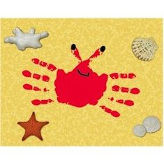 Handprint Crab This handprint crab craft comes complete with a printable beach themed background. A fun project even the little ones can do. The post Handprint Crab was featured on Fun Family Crafts. Crab Crafts, Vbs Crafts, Beach Crafts, Summer Crafts, Preschool Crafts, Holiday Crafts, Summer Fun, Daycare Crafts, July Crafts