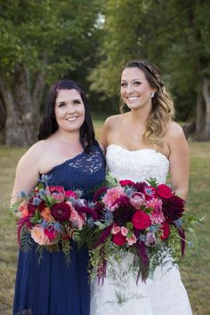 navy, burgundy red and blush coral bridal bouquet organic cascading style by sophisticated floral portland oregon wedding florist bride and bridesmaid navy dress Dan Rice Photography #weddingbouquets