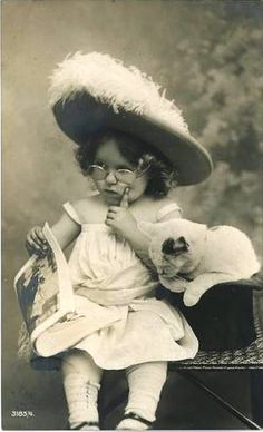 Vintage postcard - Girl w/ kitten