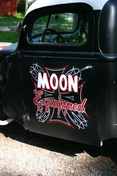Lettering and pinstriping to rat rod pick-up.