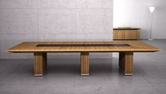 Various Awesome Conference Table Design: Cool Bench Style Low Profile Modern Wooden Conference Table Design Ideas ~ gtrinity.com Furniture Inspiration