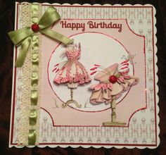 House of Zandra fabulous fashion decoupage Birthday Cards, Happy Birthday, Dress Card, Bakers Twine, General Crafts, Card Designs, Handmade Cards, Decoupage, Card Ideas