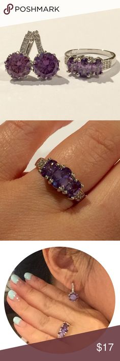 925 stamped ring/ earring  sz 7 $5 off 925 stamped ring/ earring  sz 7  1) ring  •925 stamped  •cubic zirconia  •size 7 •color : purple   2) earring   •Material : Crystal , 18K White filled  •total length : 17mm long.   •Crystal : 9mm.  •color : purple  •Carat Weight:  Total of 5.5 Carat (2.75 each)  Comes with pink box until it lasts Jewelry Earrings