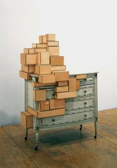 Crate Furniture, Design Furniture, Fine Furniture, Unique Furniture, Decor Interior Design, Contemporary Furniture, Furniture Decor, Cardboard City, Wood Drawers