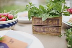 Herbs make excellent centerpieces and add a delightful aromatic punch to the table. Photo Source: style me pretty  #Herbs #centerpieces #rustic