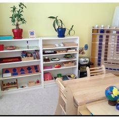 Part of our home school Montessori inspired learning room. Billy shelves from Ikea. Tables from Lord Co.