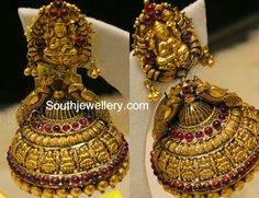 Antique Earrings latest jewelry designs - Page 16 of 57 - Indian Jewellery Designs Jewelry Design Earrings, Gold Earrings Designs, Gold Jewellery Design, Necklace Designs, Gold Designs, Designer Jewellery, Gold Temple Jewellery, Gold Wedding Jewelry, Gold Jewelry