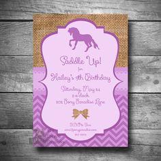 Horseback Riding Invitation, Pony Party Invitation, DIY Horse Birthday Party Invite, Printable, Email or Text Invitation
