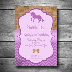 Horseback Riding Invitation, Pony Party Invitation, DIY Horse Birthday Party Invite, Printable, Email or Text Invitation