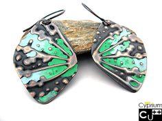 Patina earrings. Dandelion earrings.