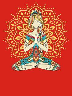 'Yoga Om Chakras Mindfulness Meditation Zen T-Shirt by yogaclothes Yoga Om Chakras Mindfulness Meditation Zen 4 by yogaclothes Yoga Om, Yoga Background, Yoga Painting, Yoga Illustration, Yoga Images, Different Types Of Yoga, Buddha Zen, Inspirational Wall Art, Mindfulness Meditation