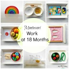 Since Mia approaching 18 months I added some new materials on our Montessori shelf. She is still using Montessori Work from 12 to 14 Months. On her shelf she has: Lime wooden rainbow, Grimm's 17 cm… 18 monate Montessori Baby, Montessori Trays, Montessori Playroom, Montessori Materials, Montessori Homeschool, Toddler Learning Activities, Montessori Activities, Baby Learning, Infant Activities