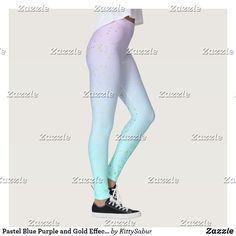 Pastel Blue Purple and Gold Effect Dots Yoga Leggings Ombre Leggings, Yoga Leggings, Purple Ombre, Pastel Blue, Gothic Leggings, Gold Dots, Kawaii Fashion, Leggings Fashion, Dressmaking