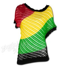 This shirt has the rasta stripes along with black in a diagonal pattern. Loose fit over the shoulders, rounded collar and see through design. The shirt is unique and has a slant design. Bottom hem is longer on one side. Hand Wash. Do not dry. Made of 100% Acrylic.