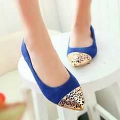 0490b12a7414 Stylish Blue Perforated Detail Flats   Womens Sexy Flat Shoes