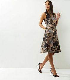40585e8af9 ... ax paris black metallic floral print skater dress  £34.00. blue vanilla  ...