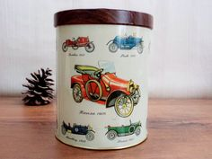 Vintage Metal Box Canister with Old Car Models by GuestFromThePast