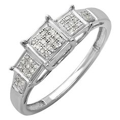 0.13 Carat (ctw) Sterling Silver Round White Diamond Ladies Micro Pave Engagement Ring (Size 9). Other ring sizes may be shipped sooner. Most rings can be resized. Items is smaller than what appears in photo. Photo enlarged to show detail. Satisfaction Guaranteed. Return or exchange any order within 30 days. All our diamonds are conflict free. Gemstone : Diamond.