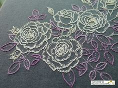 Roses with blanket stitch Diy Embroidery Patterns, Hand Embroidery Videos, Hand Embroidery Flowers, Creative Embroidery, Hand Embroidery Stitches, Silk Ribbon Embroidery, Embroidery Hoop Art, Embroidery Techniques, Cross Stitch Embroidery