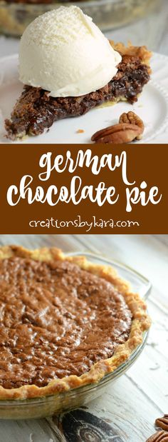 Recipe for German Chocolate Pie - if you love German chocolate cake, you must try this German chocolate pie. Every bite is decadent - and it is easy to make! via @creationsbykara.com