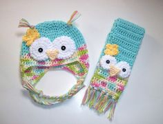 Owl Hat and Scarf Set Funfetti Crochet. $32.00 for items 5/14.