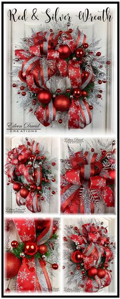 Christmas Wreath, Red and Silver, Elegant, Classic, wreath, holiday decor, holiday, beautiful wreath, door decor, holiday wreath, home decor