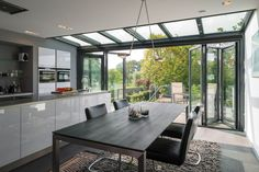 Explore Modern designs of Large Windows at The Architecture Designs. For more, you can collect the Ideas of Large Windows and images. House Design, Room, Home, Glass Extension, Open Plan Kitchen Living Room, House Rooms, House Styles, Bungalow Renovation, House Extension Design