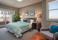 Architecture, Splendid Home Restoration San Francisco In Bedroom Featuring Cool Furniture As Wooden Bedside Table, Grey Interior Plant And Laminate Floor: Fascinating Two Unit Home Restoration in California with New Interior