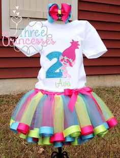 Poppy Trolls Birthday Tutu set by ThreePrincessBows on Etsy