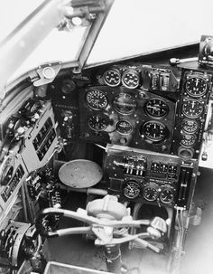 Bristol Blenheim Mark V: pilot's controls and instrument panel on the port side of the cockpit. Picture was taken in February Air Force Aircraft, Ww2 Aircraft, Military Helicopter, Military Aircraft, Lancaster, Short Sunderland, Bristol Blenheim, Gun Turret, Hawker Hurricane
