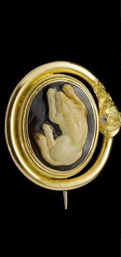 A Roman agate cameo of a dog  Circa 1st Century B.C./A.D