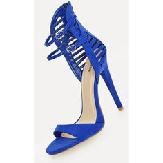 Justfab Heeled Sandals Giana ($40) ❤ liked on Polyvore featuring shoes, sandals, blue, blue shoes, ankle strap platform sandals, high heel platform sandals, blue high heel sandals and high heel sandals