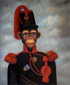 "High Q Hand Painted Oil Painting Monkey Commander 20""X24"" 