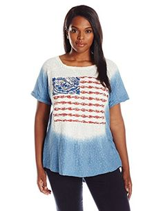 a4c2744338f Lucky Brand Women s Plus Size Dip Dye Embroidered Flag