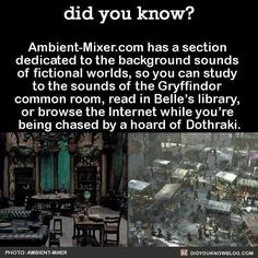 I can't say I'd want to be chased by a horde of Dothraki, but studying in the Gryffindor common room and reading in Belle's library sounds awesome The More You Know, Good To Know, Did You Know, Writing Tips, Writing Prompts, Belle Library, Life Hacks, Fictional World, Wtf Fun Facts