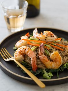 This Almond Butter Soba Noodles with Garlic Shrimp dish is the perfect lunch or light dinner for when you want something delicious, but healthy.