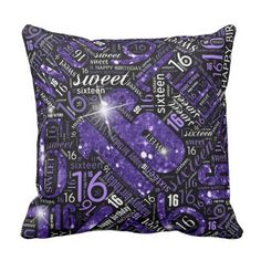 Sweet Sixteen Sparkle Word Cloud Purple ID265 Throw Pillow - elegant gifts gift ideas custom presents