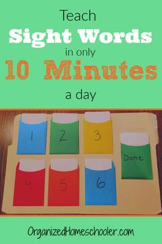 Teach sight words in only 10 minutes a day! LEARN how to use this amazing technique + get a FREE list of Dolch sight words + a get FREE completion certificate! Kindergarten Sight Words List, Preschool Sight Words, Teaching Sight Words, Sight Word Practice, Kindergarten Readiness, Homeschool Kindergarten, Preschool Learning, Dolch Sight Word List, Catholic Homeschooling