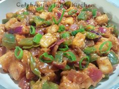 Though paneer is bland, it can be amazingly delicious when enhanced with Asian condiments. This Indo-Chinese vegetarian dish can be served as a starter or as an accompaniment with fried rice or noodles. Cubes of paneer are deep fried and then tossed in a Indo Chinese Recipes, Chinese Food, Chilli Paneer, Paneer Recipes, Kung Pao Chicken, Fried Rice, Vegetarian, Asian, Dishes