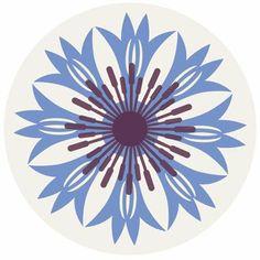 Gillian Blease abstract cornflower motif, Germany's national flower #cornflower #flower #folkart
