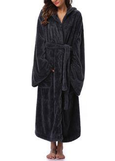 VIKEY Women s Plush Coral Velvet Robe Cozy Long Hooded Bathrobe Nightgown  at Amazon Women s Clothing store 56c95a814
