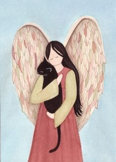 Black Cat in Angel's Arms / Lynch signed folk art print. Etsy.