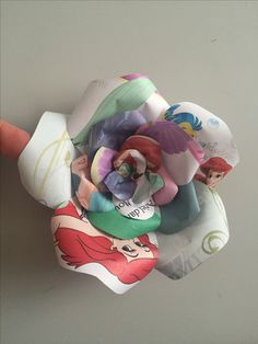 Upcycled handmade Disney Princess paper rose by Karolina Rose #DisneyFan #Ariel #TheLittleMermaid