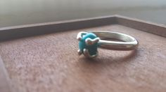 raw claw setting silver ring with blue gemstone by LaMissBijoux on Etsy