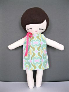Rag Doll, Every Day Molly Cloth Doll, Brown Hair Light-Skinned with Customizable Dress