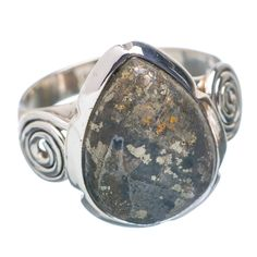Pyrite In Magnetite (healer's Gold) 925 Sterling Silver Ring Size 8.5