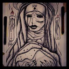 #draw #drawing #satan #666 #models #drawings #flash #flashart #flowers #tattoos #art #ink #inked #tattooflash #satanic #inkedwoman #halfmoon #moon #pentagram #candles #fuckswag #nun #hands #satanloveme #scythe