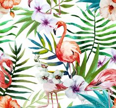 Water painting Hibiscus flowers and flamingos vector graphics